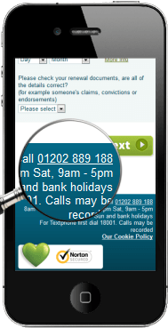 Express Renewals iPhone Showing 01202 Phone Number